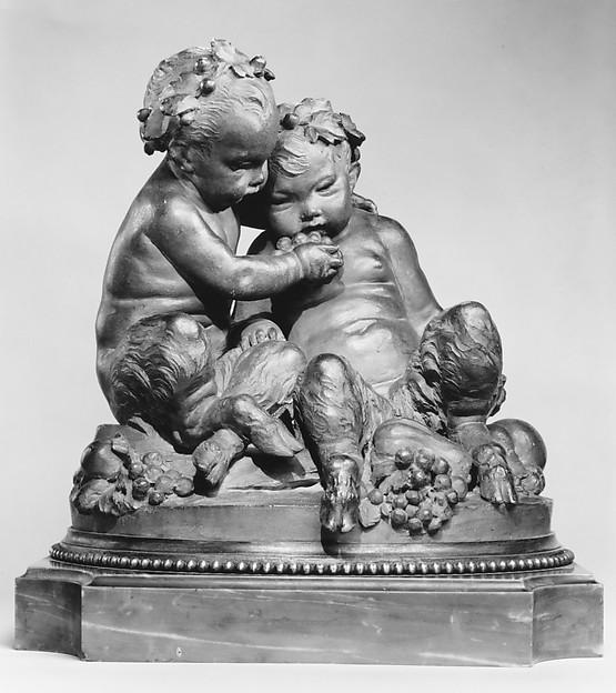 Infant satyrs with grapes, After a model by Louis Félix de La Rue (French, Paris 1731–1765 Paris), Terracotta (lacquered brown); base: gilt bronze and grey marble, French, Paris