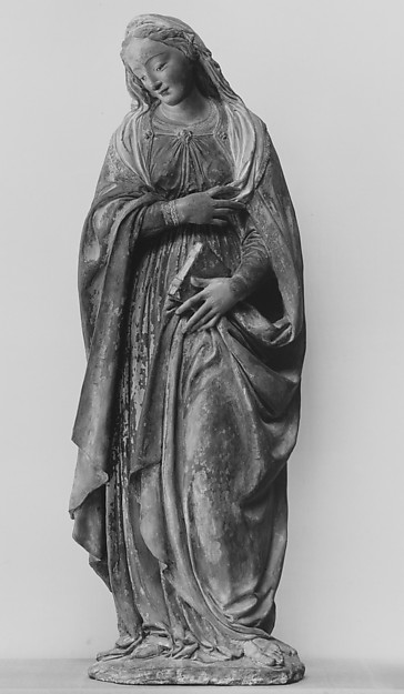 The Virgin Annunciate, After an original by Benedetto da Maiano (Italian, Maiano 1442–1497 Florence), Terracotta, painted, Italian, Florence