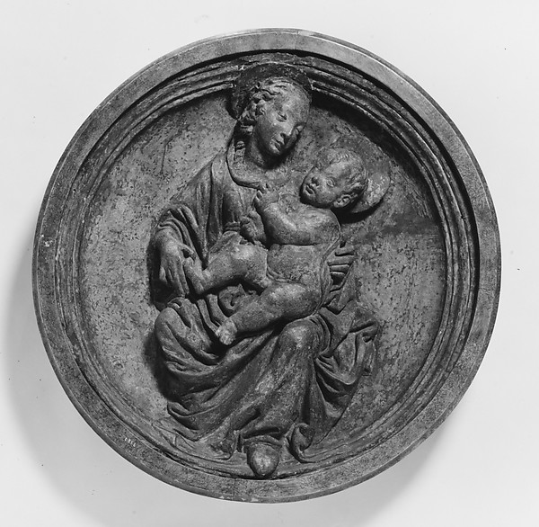 Virgin and Child, After an original by Francesco di Simone Ferrucci (Italian, Fiesole 1437–1493 Florence), Relief: stucco, painted and gilded; frame: wood, Italian, Florence