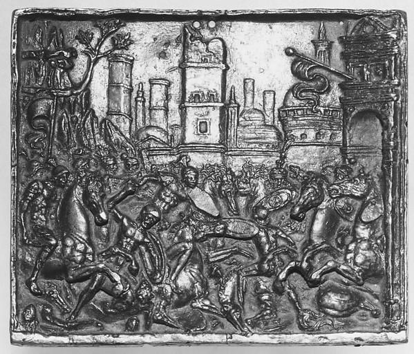 Combat at a City Gate, Andrea Briosco, called Riccio (Italian, Trent 1470–1532 Padua), Bronze, Italian, Padua