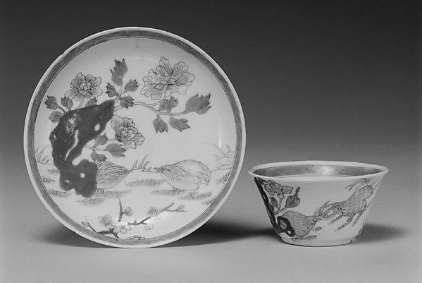 Teabowl and saucer with quail and peonies, Hard-paste porcelain painted with colored enamels over transparent glaze (Jingdezhen ware), Chinese, for European market