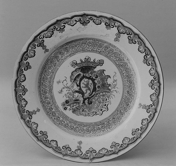 Plate, Hard-paste porcelain, Chinese with Dutch decoration, for Dutch market