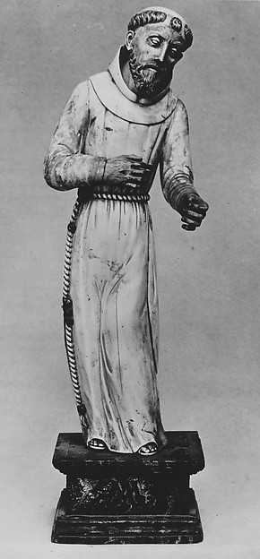 Saint Francis of Assisi, Figure: ivory, with hair, beard and cord painted brown; base: wood, probably Goan