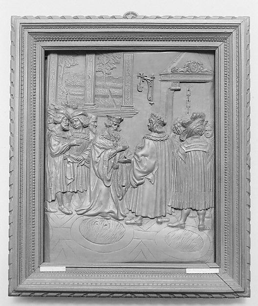 Meeting of Maximilian and the Emperor Frederick, After a composition by Hans Burgkmair (German, Augsburg 1473–1531 Augsburg), Boxwood; frame: black wood, German