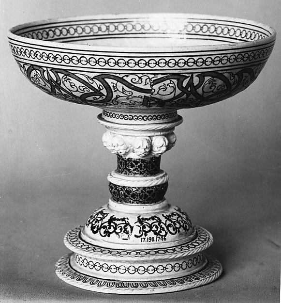 Tazza, Lead-glazed earthenware inlaid with slip, with molded ornament, French, Saint-Porchaire or Paris