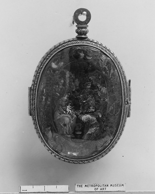 Pendant reliquary, Silver gilt, reverse-painted rock crystal, painted vellum, Northern Italian, Lombardy