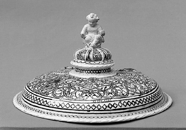 Tazza cover, Lead-glazed earthenware inlaid with slip, with molded ornament, French, Saint-Porchaire or Paris
