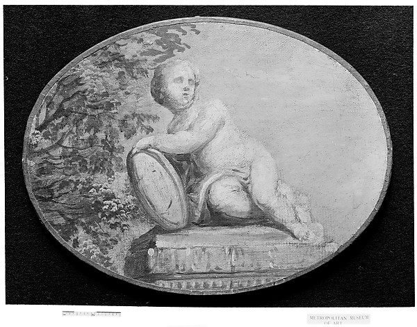 Putto on a pedestal against background of verdure, French Painter  , 18th century, Oil on canvas, grisaille, French