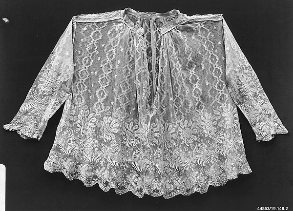 Surplice (Cotta), Hand-run machine net, embroidered net, Italian, Sicily