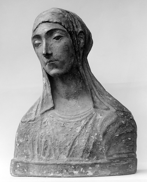 Virgin Mary (probably), After a composition by Mino da Fiesole (Mino di Giovanni) (Italian, Papiano or Montemignaio 1429–1484 Florence), Stucco, polychromed, Italian, Florence or Rome