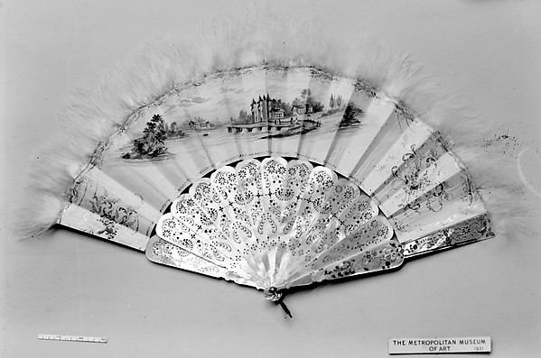Fan, Kid, swan's down, mother-of-pearl, silver, French