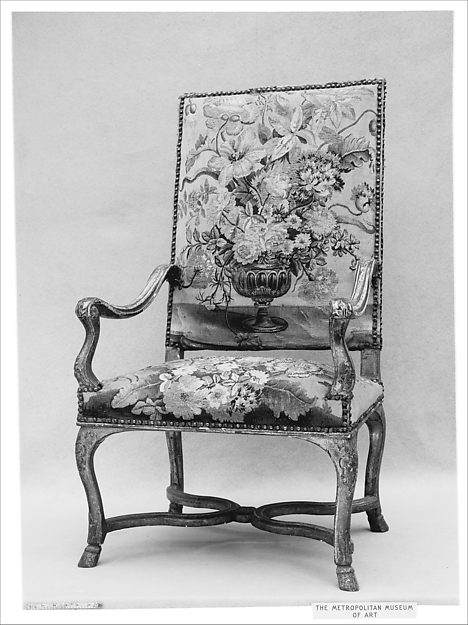 Armchair, Carved and gilded walnut, French