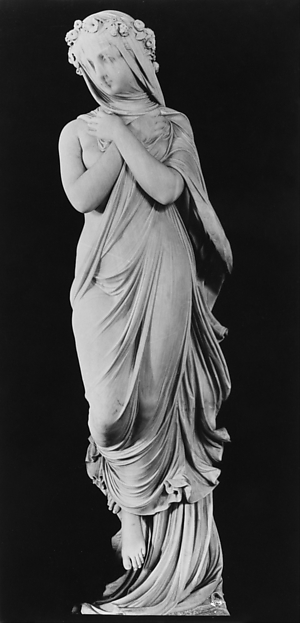 The Veiled Woman, Rafaello Monti (1818–1881), Marble, Italian