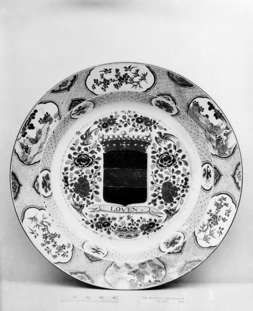 Dish, Hard-paste porcelain, Chinese, for Dutch market