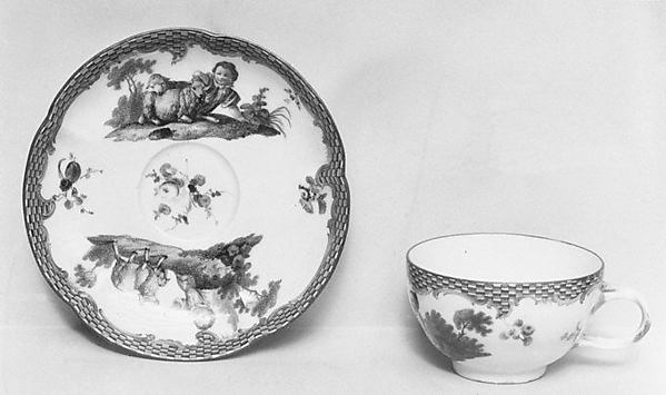 Cup and saucer (part of a set), Meissen Manufactory (German, 1710–present), Hard-paste porcelain, German, Meissen