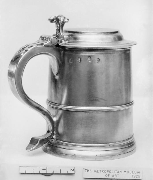 Tankard, Probably by John Wisdom (active 1704–31), Silver, British, London