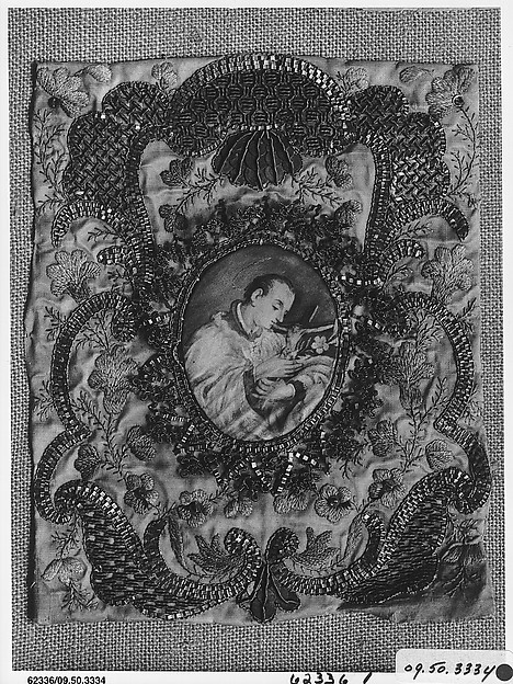 Cover for a prayer book, Silk and metal thread on silk, German