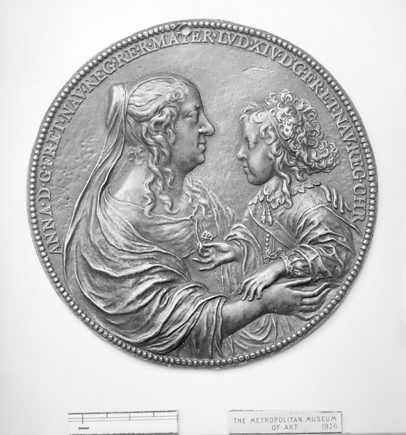 Anne of Austria, Queen Mother of France (1601–66) and her son Louis XIV (1638–1715), Medalist: Jean Varin (French, 1606–1672), Bronze, brown patina, French, Paris