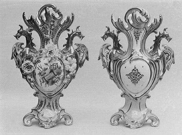 Pair of vases, Probably made at Fontainebleau (Manufacture Royale, established 1530, 1535 or 1539), Hard-paste porcelain, probably French, Fontainebleau