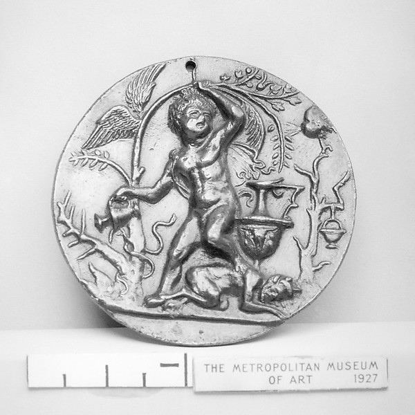 Allegory of Virtue, Attributed to Andrea Briosco, called Riccio (Italian, Trent 1470–1532 Padua), Bronze, Italian, Padua