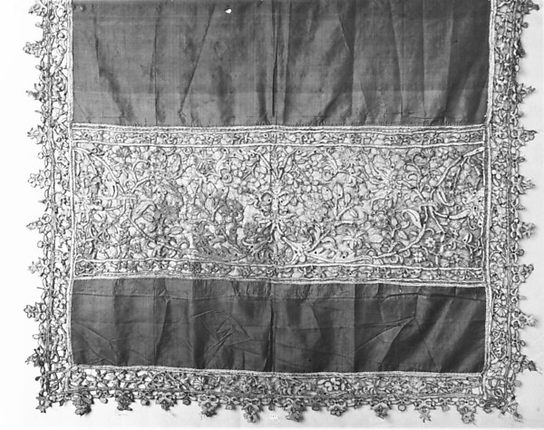 Baptismal veil, Silk and metal thread, cutwork, Spanish or Italian