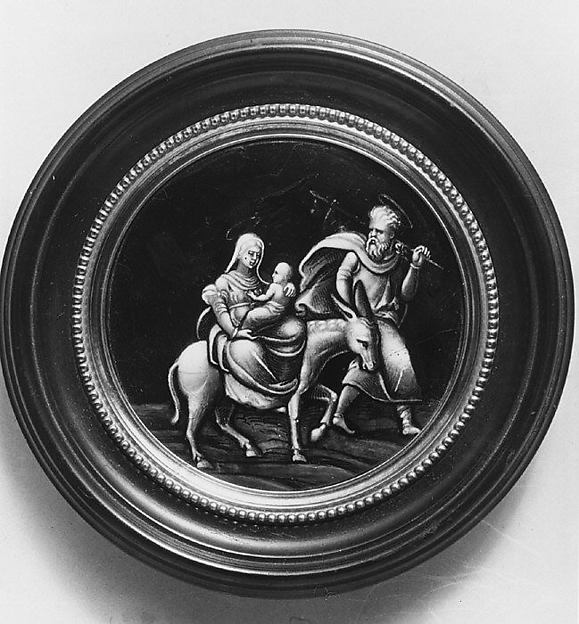 The Flight into Egypt, Possibly the workshop of Pierre Reymond (born 1513, working 1537, died after 1584), Painted enamel on copper, partly gilt, French, Limoges