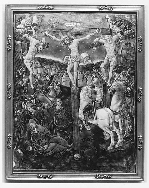 The Crucifixion, Attributed to Colin Nouailher (French, active 1539, d. after 1571), Painted enamel on copper, partly gilt; gilt-brass frame, French, Limoges
