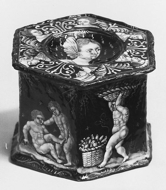 Saltcellar with scene of infant harvesters (one of a pair), Attributed to Pierre Reymond (born 1513, working 1537, died after 1584), Painted enamel on copper, partly gilt, French, Limoges