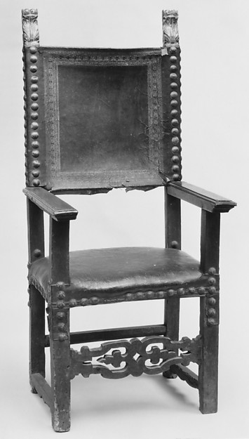 Armchair, Carved and gilded walnut, leather, Italian, Florence