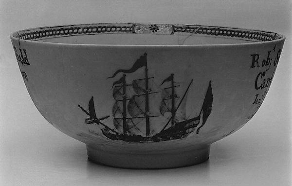 Punch bowl, Hard-paste porcelain, Chinese, for British market