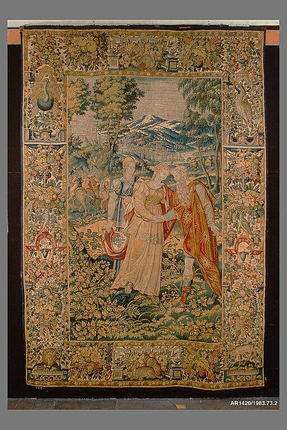 Rachel Giving Bilhah to Jacob from The Story of Jacob series, Woven by CT or TC, Brussels, Wool, silk (18 warps per inch, 6–7 per cm.), Flemish, Brussels