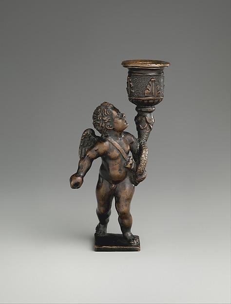 Cupid holding a candle socket, Bronze, possibly Italian, Padua