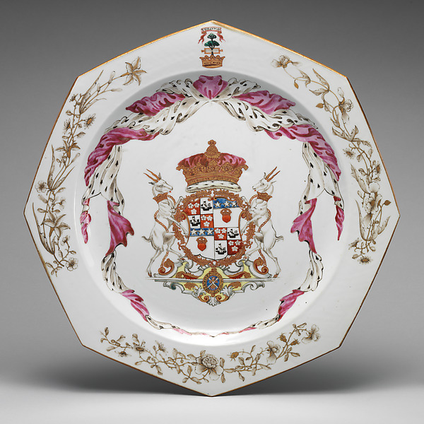 Dish (part of a service), Hard-paste porcelain, Chinese, for Scottish market