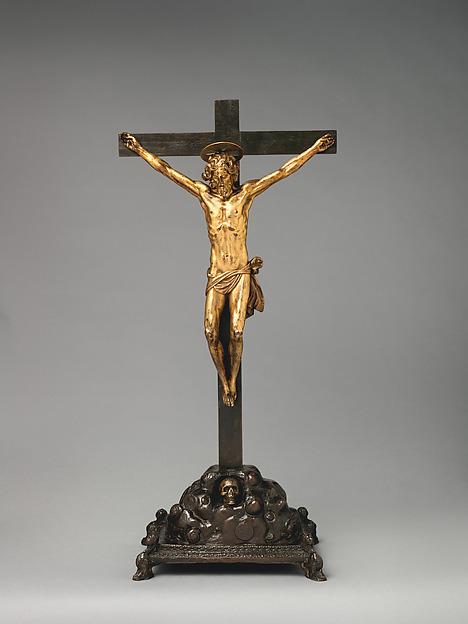 Crucifix on a Golgotha Base, Base by Giuseppe de' Levi (Italian, Verona 1522–1611/14 Verona), Corpus: gilt bronze; cross and base: bronze, Italian, Verona