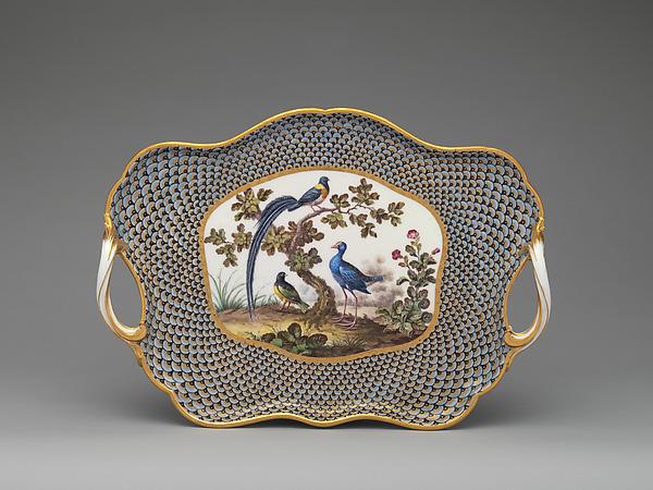 Tray (plateau) (part of a service), Sèvres Manufactory (French, 1740–present), Soft-paste porcelain, French, Sèvres