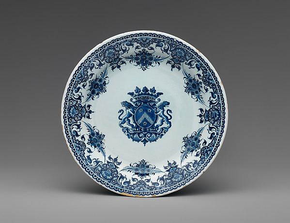 Plate with arms of the Poterat family, Faience (tin-glazed earthenware), French, Rouen