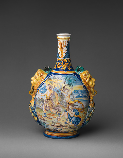 Vase, Based on an engraving in the 1676 translation by Isaac de Benserade, Earthenware, French, Nevers