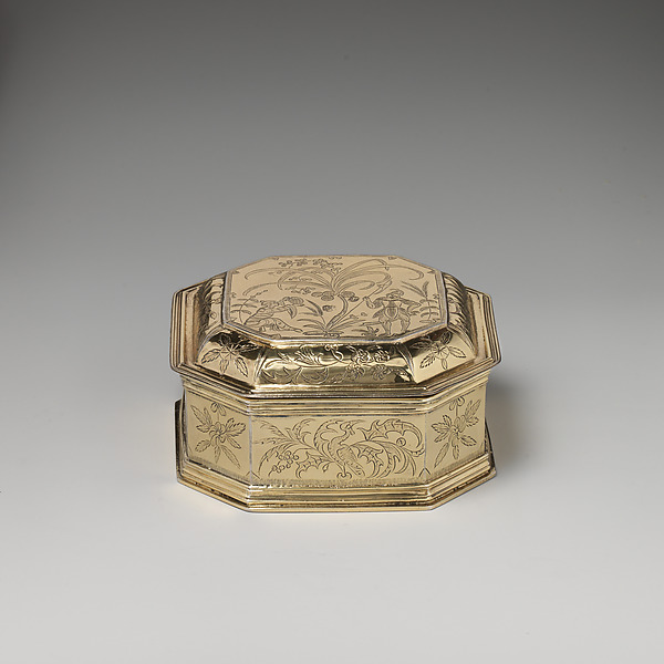 Box with cover (one of a pair) (part of a toilet service), William Fowle (1658–1684, active 1681–84), Silver gilt, British, London