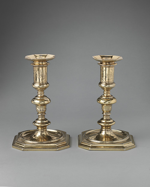 Pair of candlesticks (part of a toilet service), William Fowle (1658–1684, active 1681–84), Silver gilt, British, London
