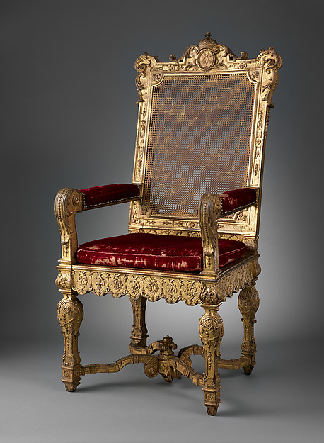 Armchair, Carved and gilded walnut, caning; velvet, French