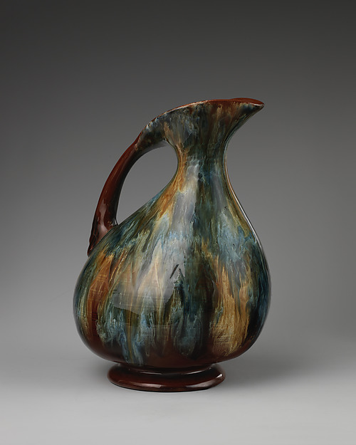 Pitcher, Linthorpe Pottery Works (British, 1879–1889), Glazed earthenware, British, Linthorpe, Yorkshire
