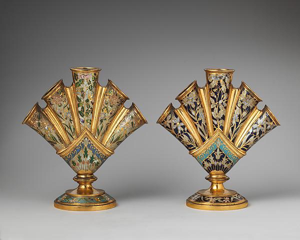 Tulip vases (2), Elkington & Co. (British, Birmingham, 1829–1963), Gilt bronze and cloisonné enamel, British, Birmingham, Warwickshire