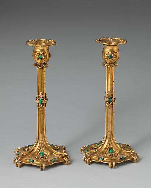 Pair of large candlesticks (part of a set), Asprey (British, founded 1781), Gilt bronze, malachite, British, London
