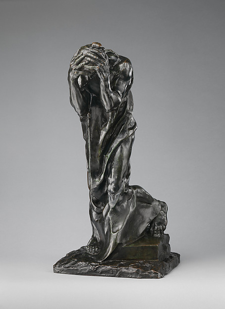The Weeping Burgher (Andrieu d'Andres), Auguste Rodin (French, Paris 1840–1917 Meudon), Bronze, green patina, French