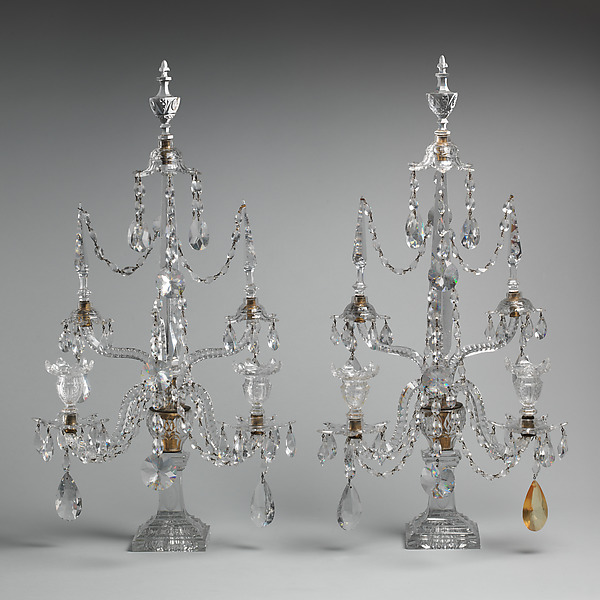 Candelabrum (one of a pair), Glass, British or Irish