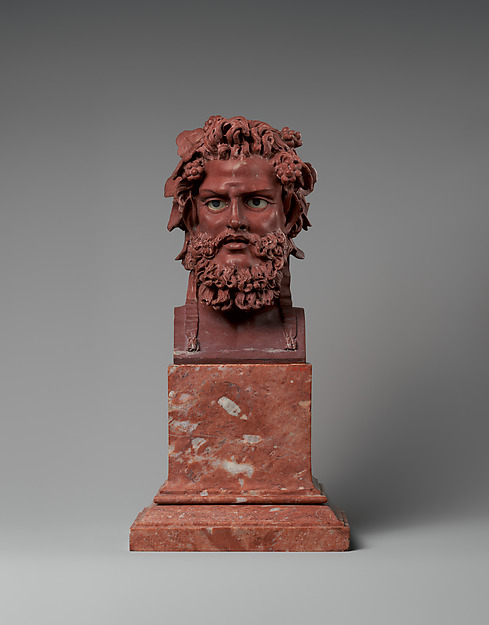 Head of Dionysus, Workshop of Luigi Valadier (Italian, Rome 1726–1785 Rome), Bust: red griotte marble; eyes: inlaid with white marble with black marble pupils; base: fleur-de-pêcher marble, Italian