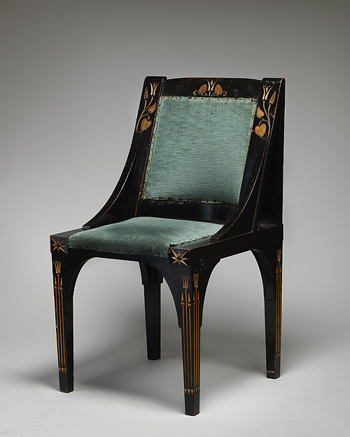 Side chair, After a design by Christopher Dresser (British, Glasgow, Scotland 1834–1904 Mulhouse), Gilt, ebonized and carved wood, modern green plush, British