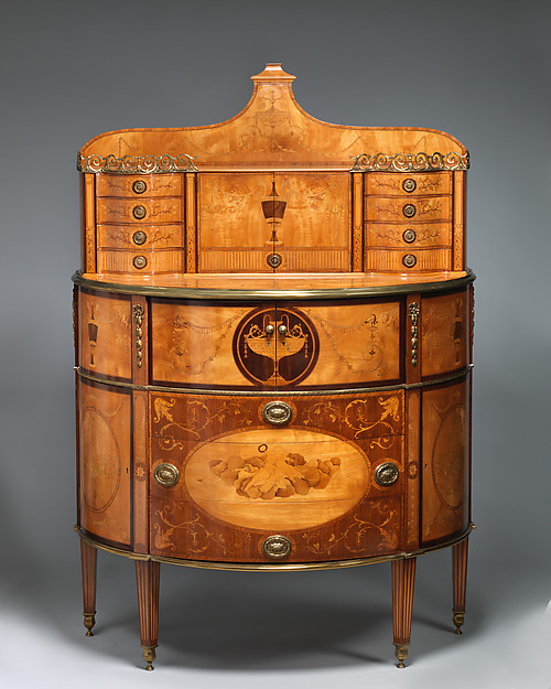 Secretary, Pine carcase, veneered with satinwood, sycamore and rosewood; mahogany drawer linings; gilt-bronze mounts, British or Irish