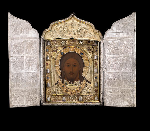 Triptych with the Mandylion, The Kremlin Armory Workshops, Moscow, Silver, partly gilt, niello, enamel, sapphires, rubies, spinels, pearls, leather, silk velvet, oil paint, gesso, linen, mica, pig-skin, woods: Tilia cordata (basswood or linden), white oak, Russian, Moscow