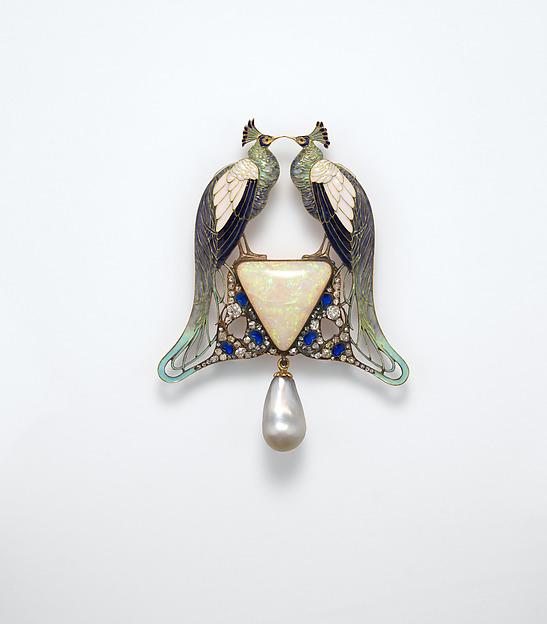 Pendant, René-Jules Lalique (French, Aÿ 1860–1945 Paris), Gold, enamel, opal, pearl, diamonds, French, Paris